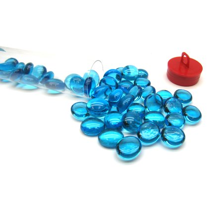 Tube of 40 Glass Gaming Stones (12-15mm) - Light Blue