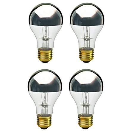 Chrome Polished Bulbs (Pack Of 4 60A19/SB Half Chrome Silver Bowl A Shape Medium (E26) Base Incandescent Light Bulb)