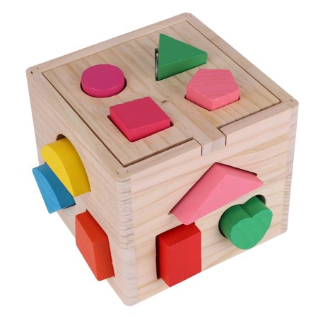 Spptty Bébé intellectuel 13 trous jeu de construction de blocs de formes géométriques précoce jouet éducatif, jouet de bloc en bois, jouet éducatif géométrique - image 5 de 7