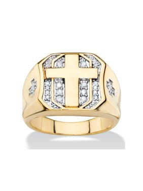 Men's 1/5 TCW Round Diamond Pave-Style Octagon Cross Ring 14k Yellow Gold-Plated