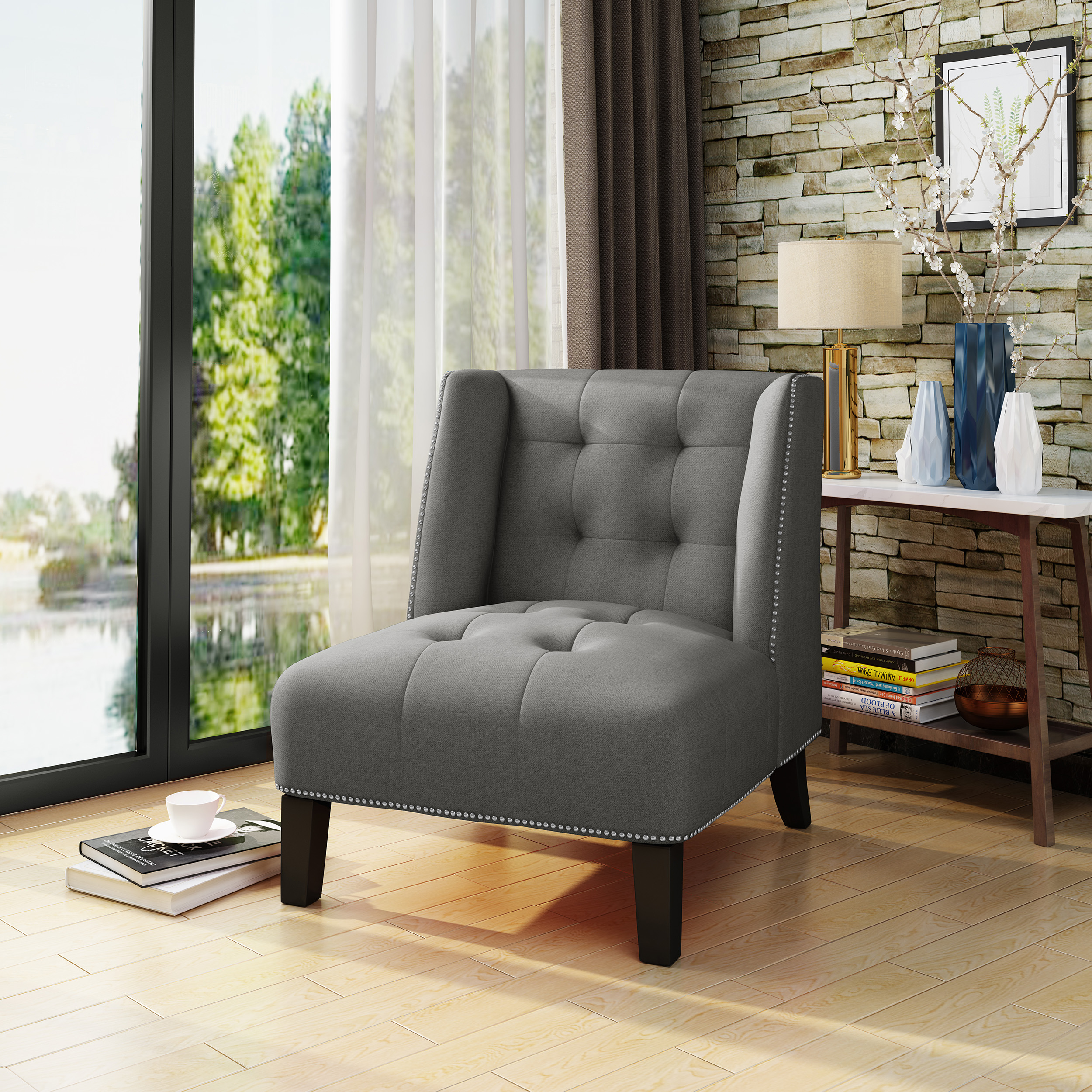 Noble House Tufted Wingback Fabric Slipper Chair,Dark Grey