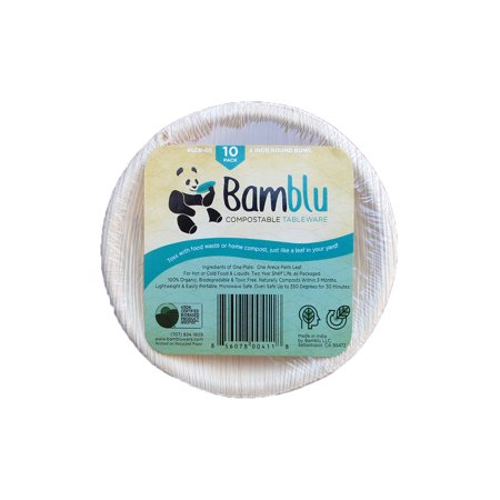 100 PC, Bamblu Home Compostable Designer Tableware, 5 inch Round Palm Leaf Bowl, LCB-05-CS