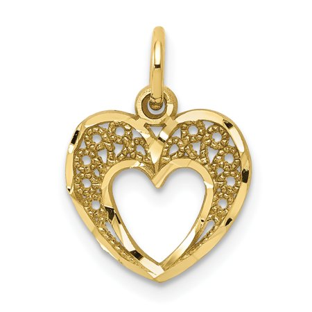 10k Yellow Gold Heart Pendant Charm Necklace Love Fine Jewelry For Women Gift (Quality Gold Fancy Heart Charm)