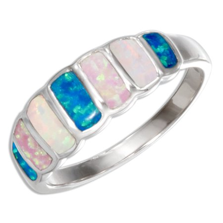 STERLING SILVER RECTANGLE SYNTHETIC BLUE, PINK, AND WHITE OPAL RING