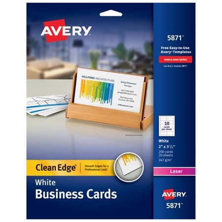 Printable Business Cards, Laser Printers, 200 Cards, 2 x 3.5, Clean Edge (5871), Printable cardstock lets you design and print your own personalized.., By Avery