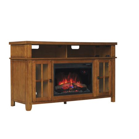 Dakota TV Stand w/ 25″ Curved Infrared Quartz Fireplace, Premium Oak