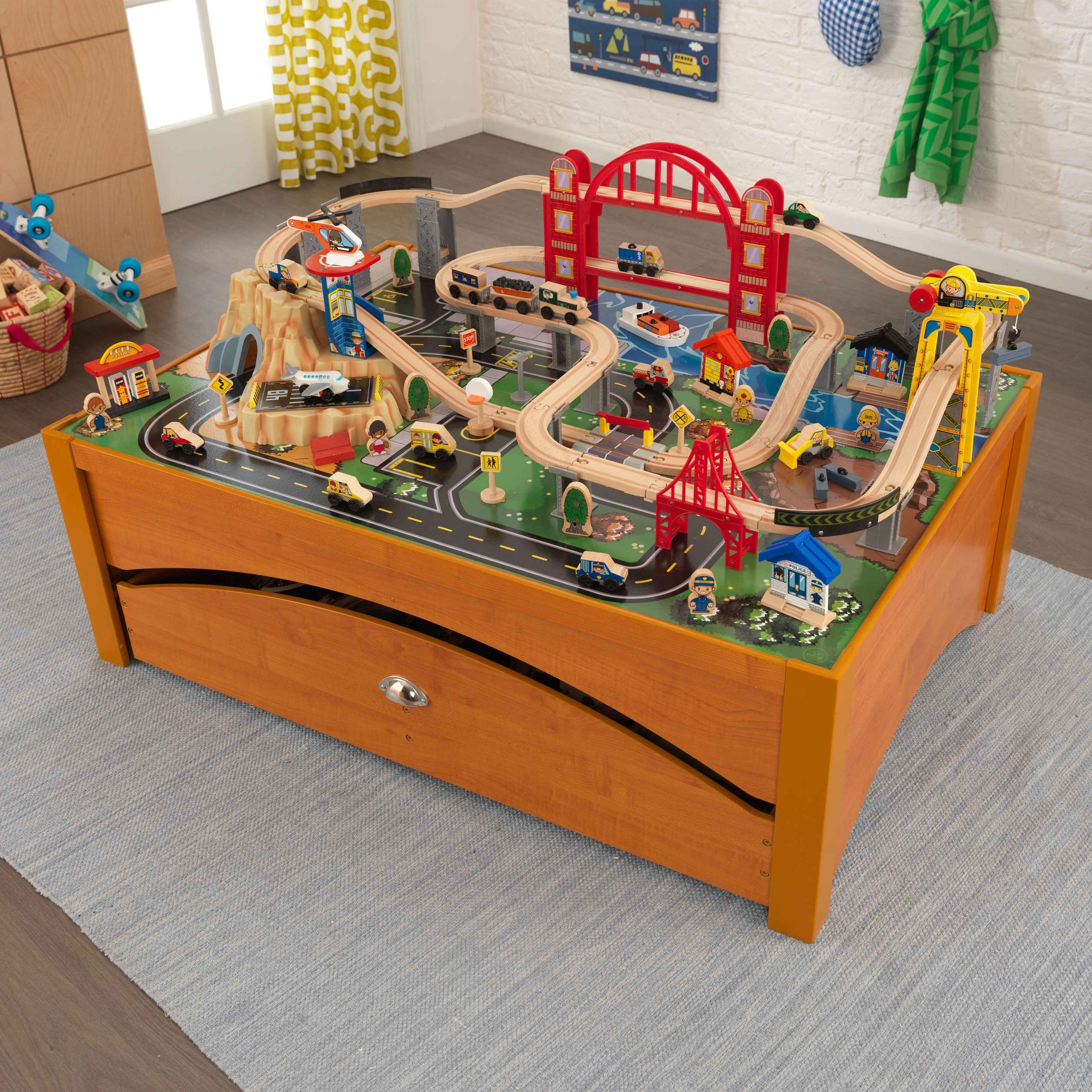 Kidkraft Metropolis Train and Table Set - Honey