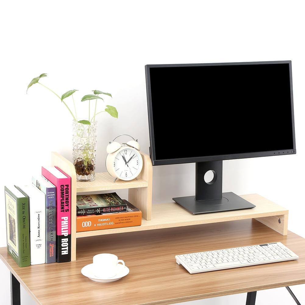 Yosoo Computer Monitor Riser,Computer Laptop Monitor Riser Stand Home Office Desktop Wooden Storage Organizer Shelf,Desktop Riser