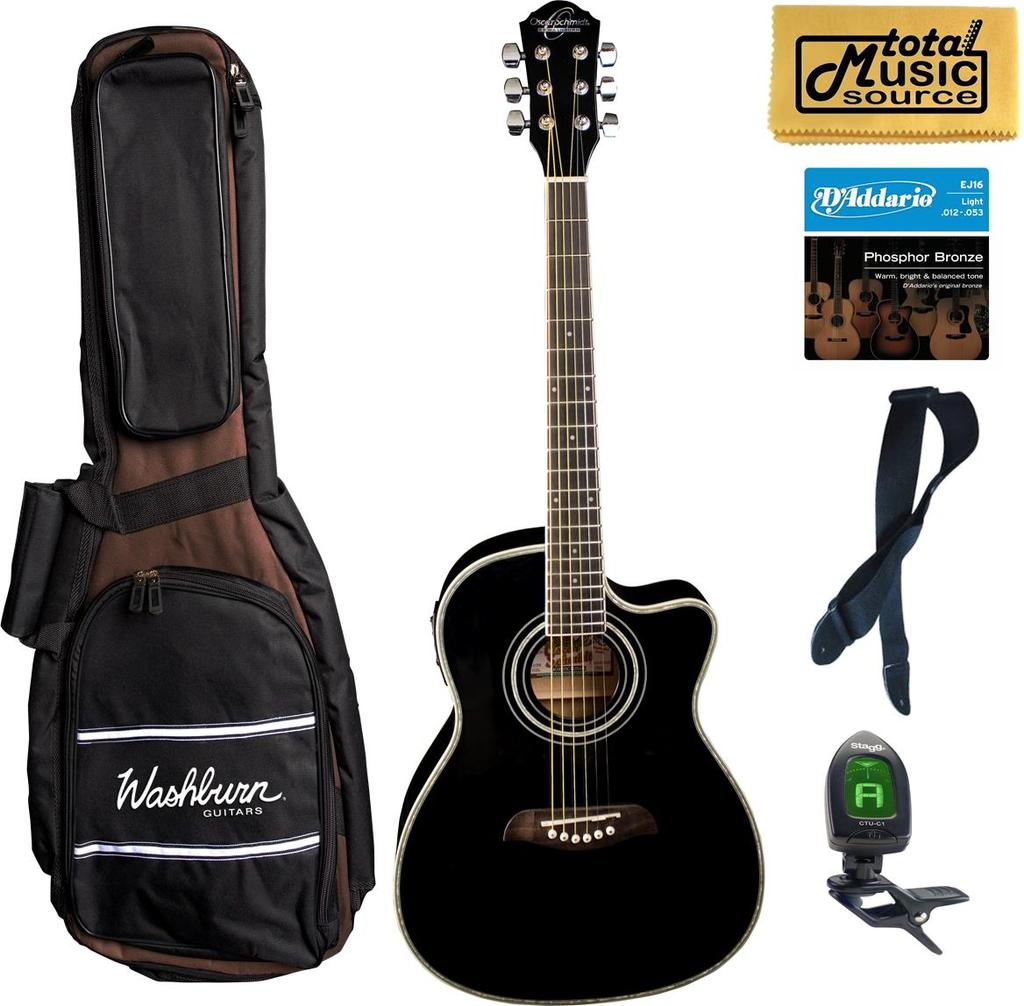 Oscar Schmidt 3/4 Size Acoustic/Electric Guitar, Black, Bundle W/Bag OG1CEB BAGPACK