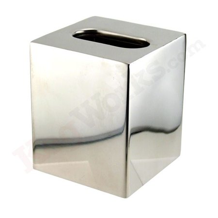 Boutique Size Tissue Box Cover - Polished Stainless Steel ()