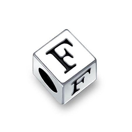 925 Sterling Silver Block Letter F Bead Charm