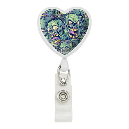 Zombie Pattern Dead Corpses Undead Horror Heart Lanyard Retractable Reel Badge ID Card Holder - White (Zombie Badge Reel)