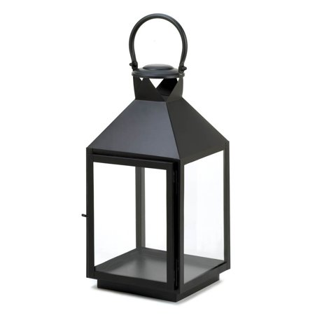 Black Metal Candle Lantern, Large Rustic Decorative Black Candle Lantern Holder ()