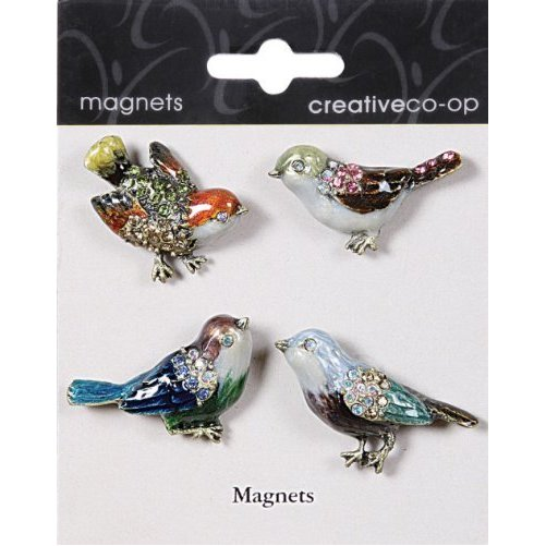Pewter Jeweled Enamel BLING BIRD Magnets Assorted - Set of 4 pieces