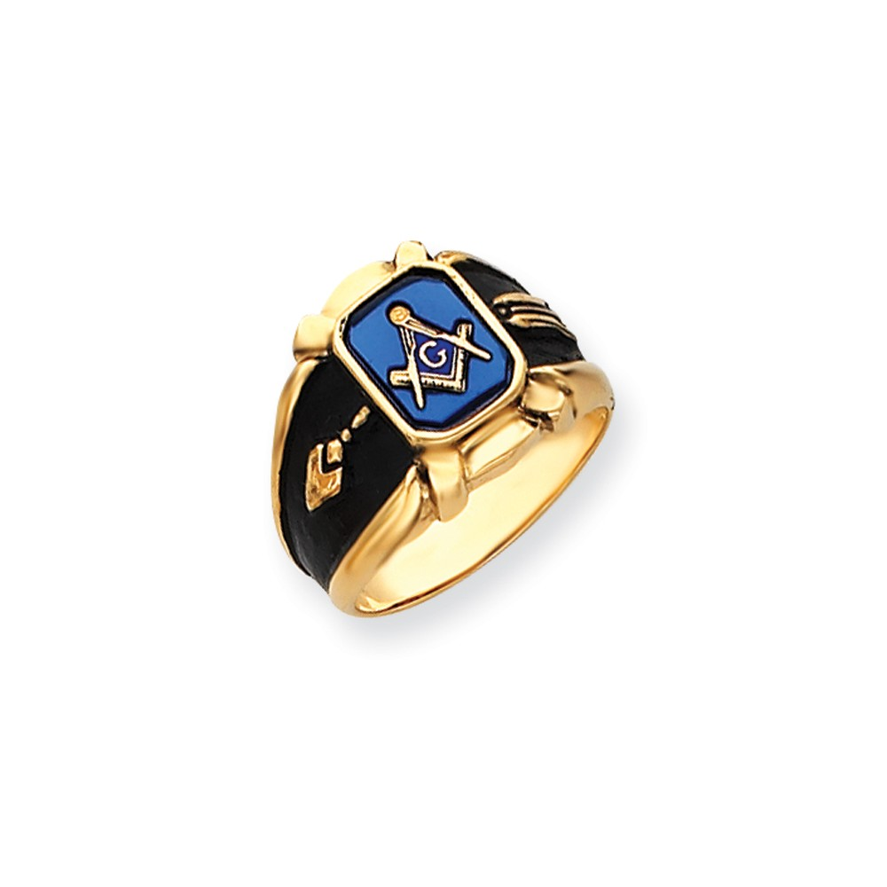 14k Yellow Gold Synthetic Blue Spinel Men's Masonic Ring