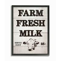 The Stupell Home Decor Collection Farm Fresh Milk Vintage Sign Oversized Framed Giclee Texturized Art, 16 x 1.5 x 20