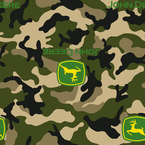 Springs Creative John Deere Logo Camo Green Fabric by the Yard