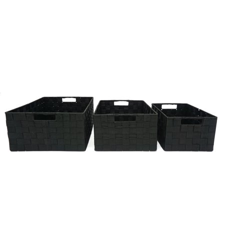 Handcrafted 4 Home Woven Strap Nesting Baskets, Black (Set of 3) (Black Basket Woven Leather)