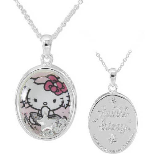 "Hello Kitty Fine Silver-Plated Shaker Pendant, 18"" Chain"