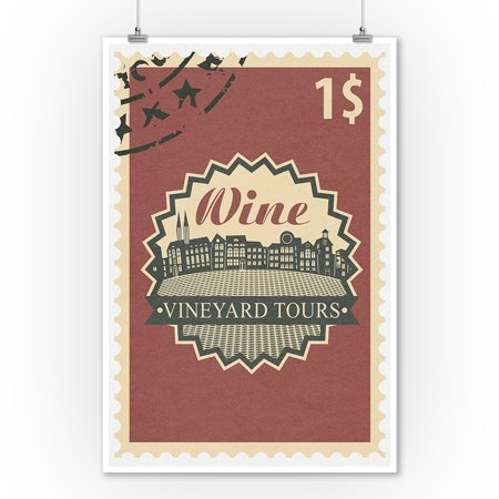 Vineyard Tours Stamp - Lantern Press Artwork (9x12 Art Print, Wall Decor Travel