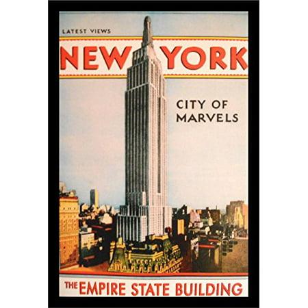 buyartforless IF VINT1012X Framed Vintage New York City of Marvels Empire State Building 18X12 Art Print Poster Wall Decor Travel Manhattan Skyline New York City