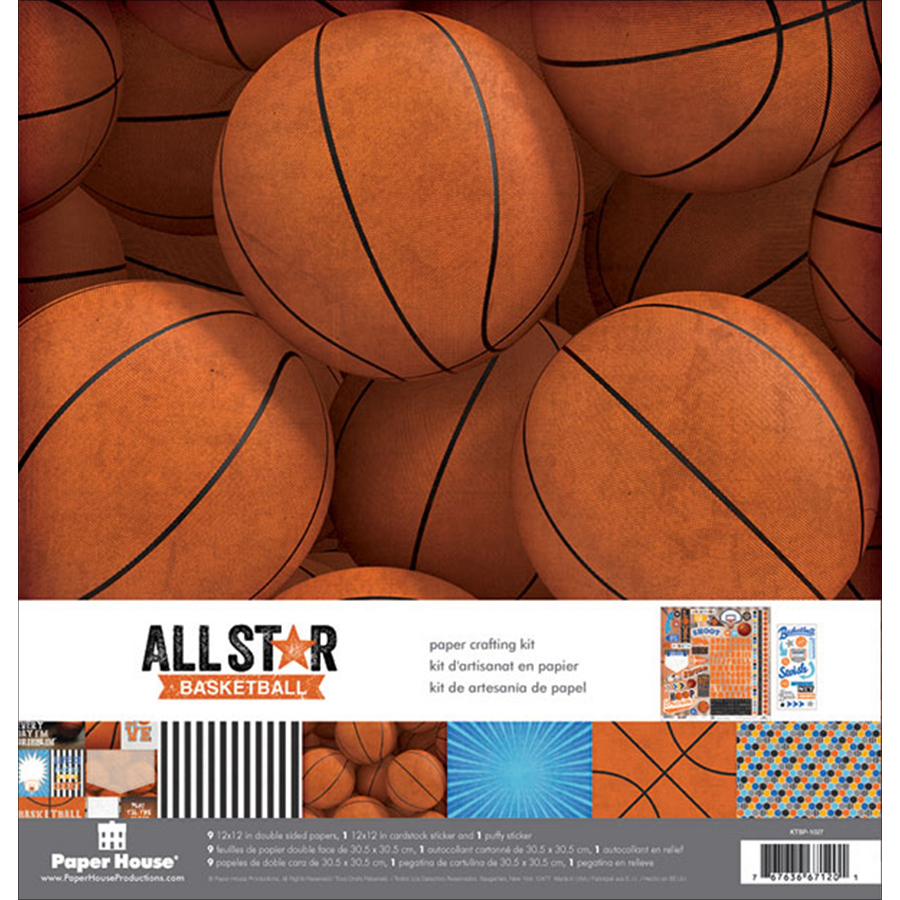 "Paper House Paper Crafting Kit 12""X12""-Basketball"