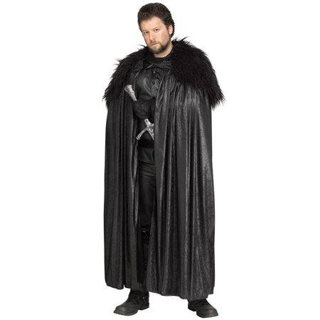 Winter Lord Costume Cloak Adult Men Plus - Black Hooded Cloak