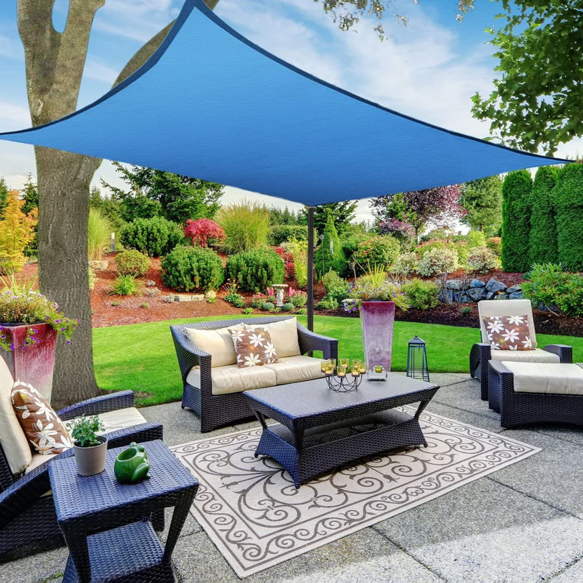 Details about  /Sun Shade Sail Sunshade Rectangle Patio Backyard Canopy Awning UV Block Cover A