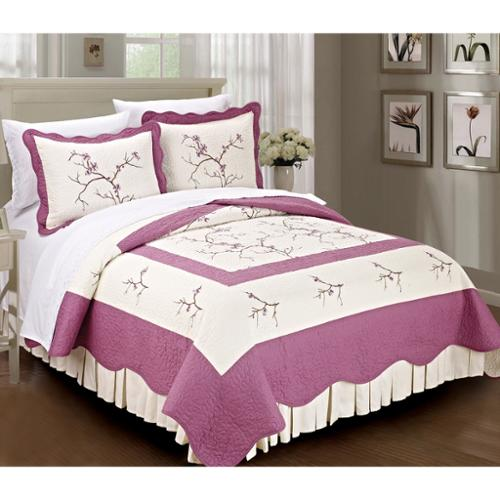 BNF Home Serenta Prewashed 100-percent Cotton Embroidered Cherry Blossom 3-piece Bedspread Set