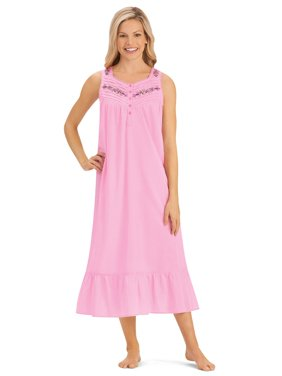 9b8e7ea3dfb6 Product Image Women s Embroidered Sleeveless Cotton Nightgown with Flounce  Hem