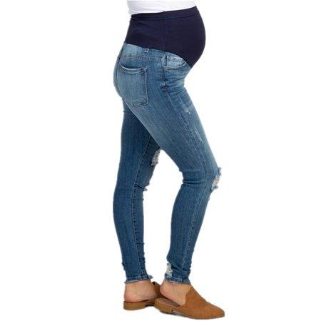 Pregnant Women Denim Pants Elastic Waist Casual