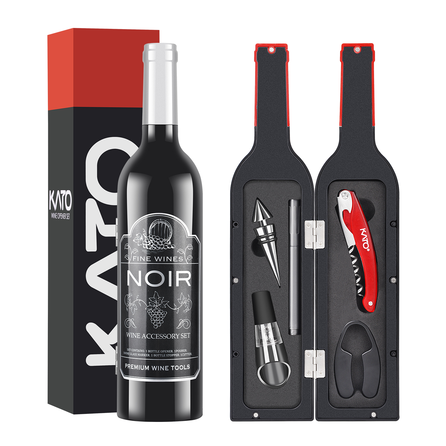 Kato Deluxe Wine Accessory Gift Set- Wine Bottle Corkscrew Opener, Stopper, Aerator Pourer, Foil Cutter, Glass Paint Marker, with Free Reusable Drink Marker Stickers, Best Gift for Wine Lover