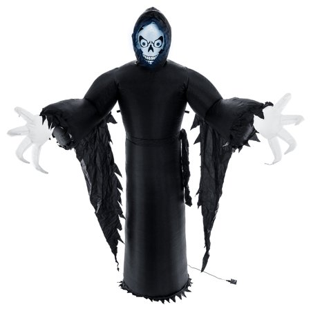 Halloween Haunters Giant 9 Foot Inflatable Spooky Black Reaper Ghost with LED Lights Indoor Outdoor Yard Lawn Prop Decor - Live Halloween Ghost Hunt