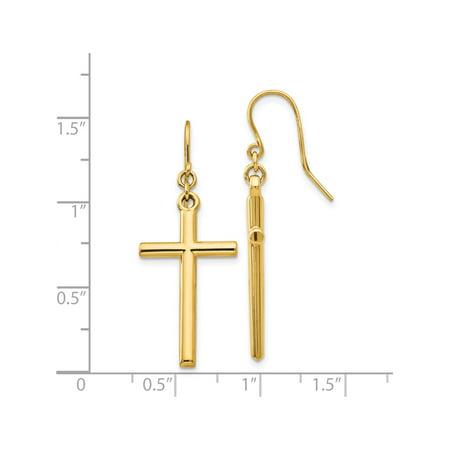14k Boucles d'oreilles Croix or jaune Shepherd Hook Dangle (14x36mm) de - image 2 de 3