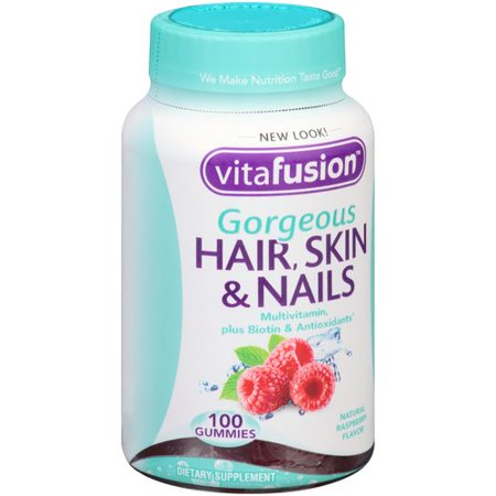Vitafusion Gorgeous Hair, Skin & Nails Multivitamin plus Biotin & Antioxidants Raspberry Gummies - 100 CT