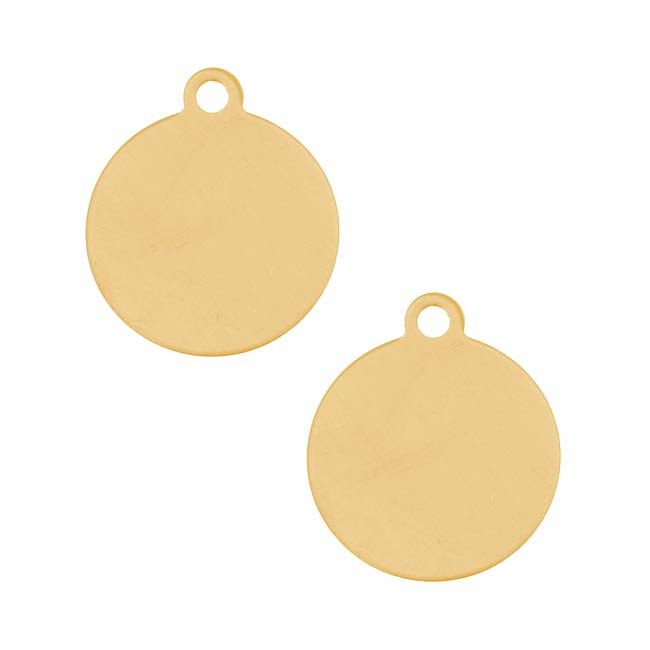 Solid Brass Stamping Blank Round Disc Pendant 14.3mm (2)