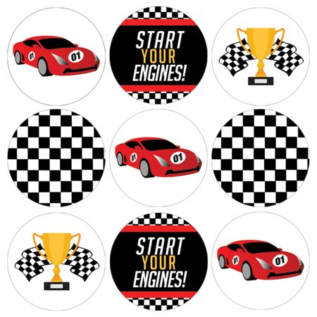 Race Car Birthday Party Stickers, 180 ct - Race Car Theme Decoration Supplies, Racing Party Supplies, Checkered Flag Party Favor ()