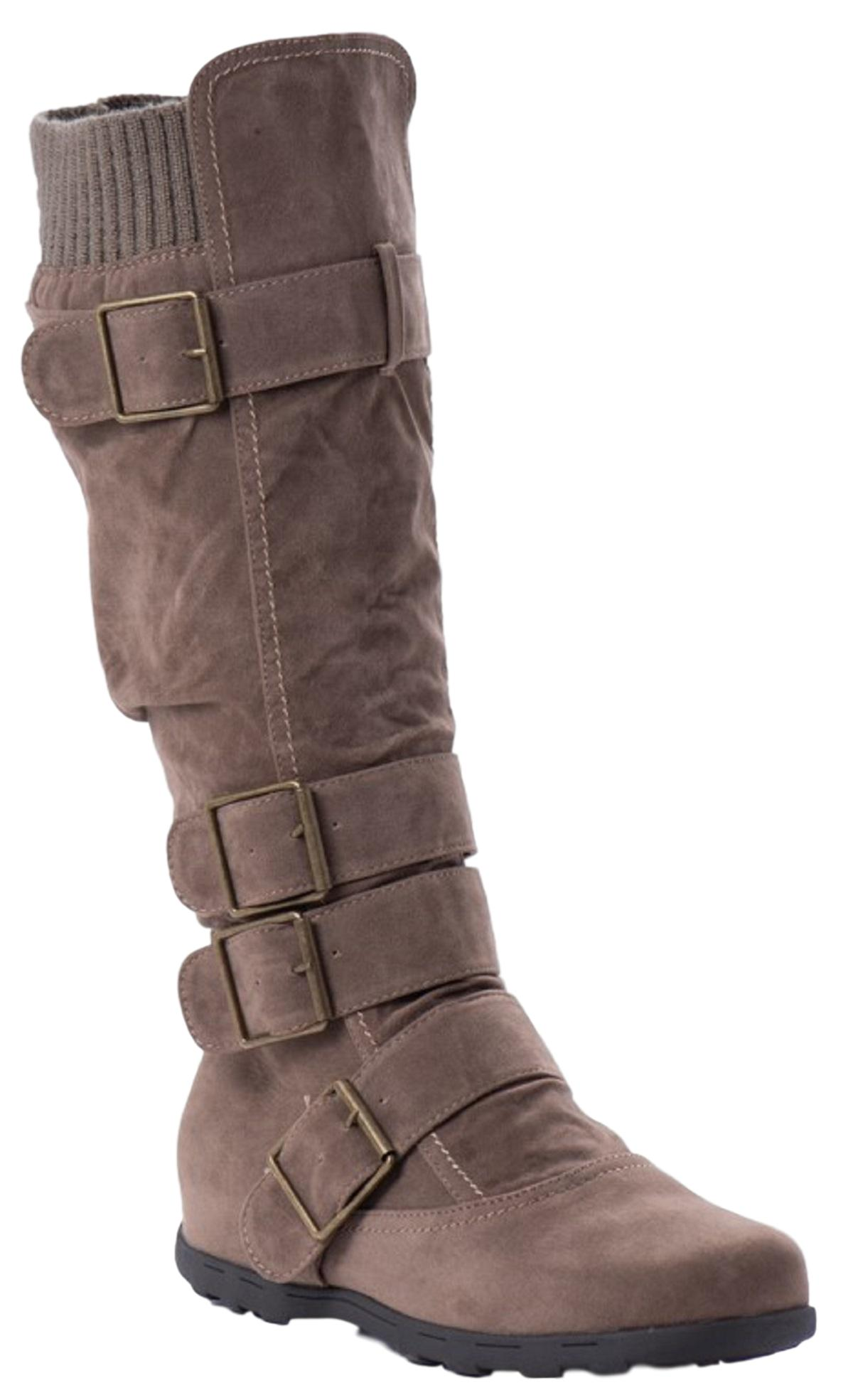 search for latest favorable price where to buy Elma-02 Women Knee High Buckle Side Zipper Flat Combat Moto Boots Taupe