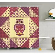 Owls Home Decor Shower Curtain Set Vintage Inspired Owl Pattern Invisible To Prey Nocturnal Mimicking