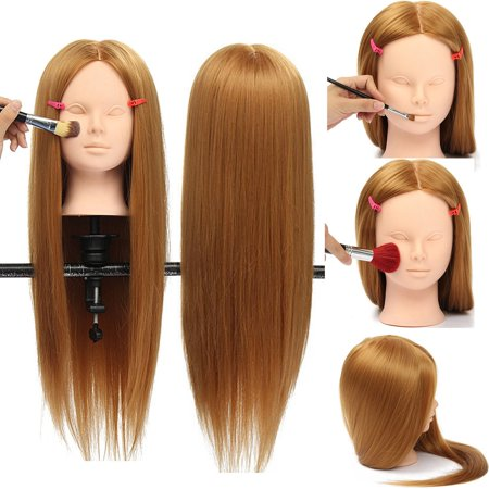 Luckyfine Makeup Practice Training Head With 30% Real Hair - Mannequin Head Salon Makeup Hairdressing Doll with Clamp