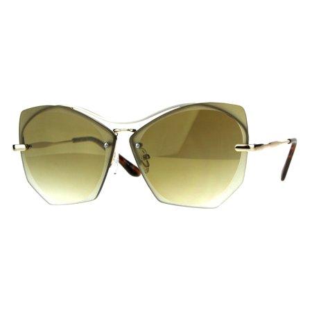 a568b9db8e SA106 - Womens Squared Butterfly Oversize Rimless Designer Sunglasses All  Gold - Walmart.com