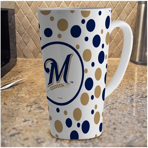 MLB Milwaukee Brewers 16-Ounce White Polka Dot Latte Mug MLB-MBR-812