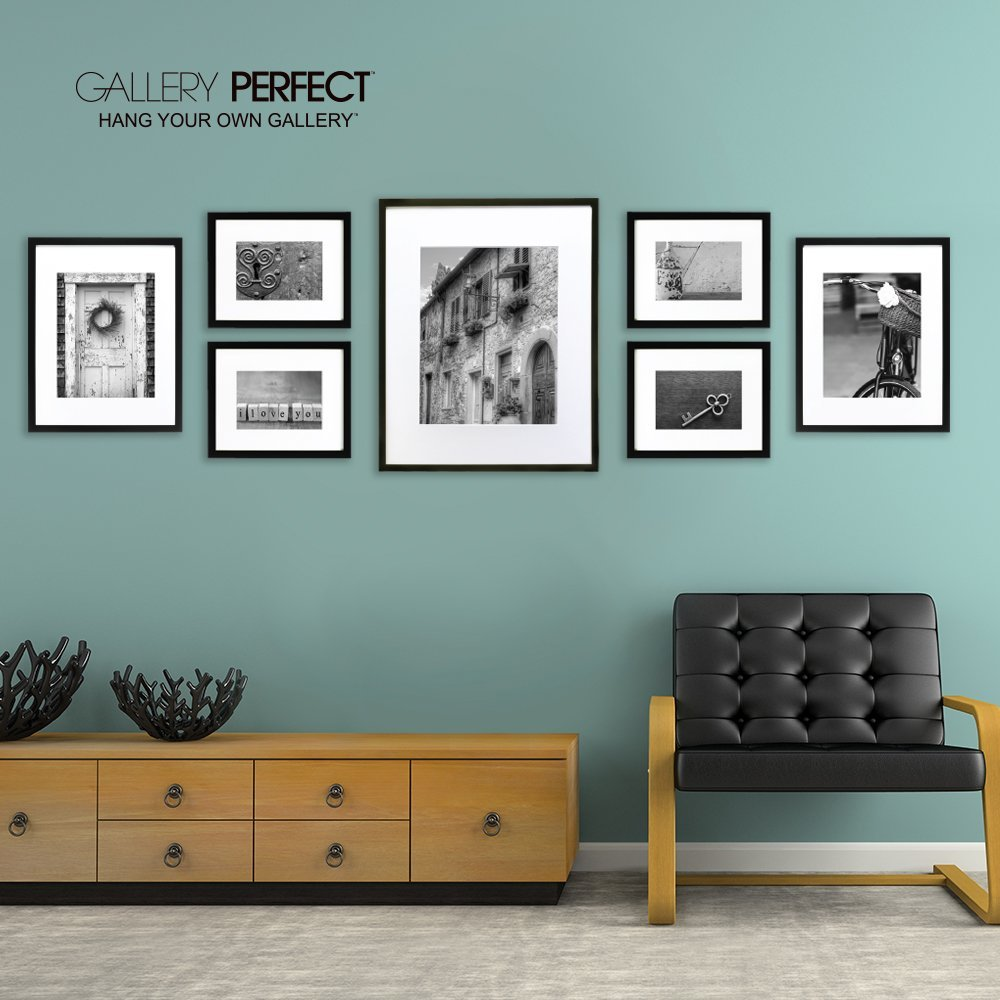 Black Wood Collage Gallery Matted Wall Art Display Photo 7 Frames Set Mounted
