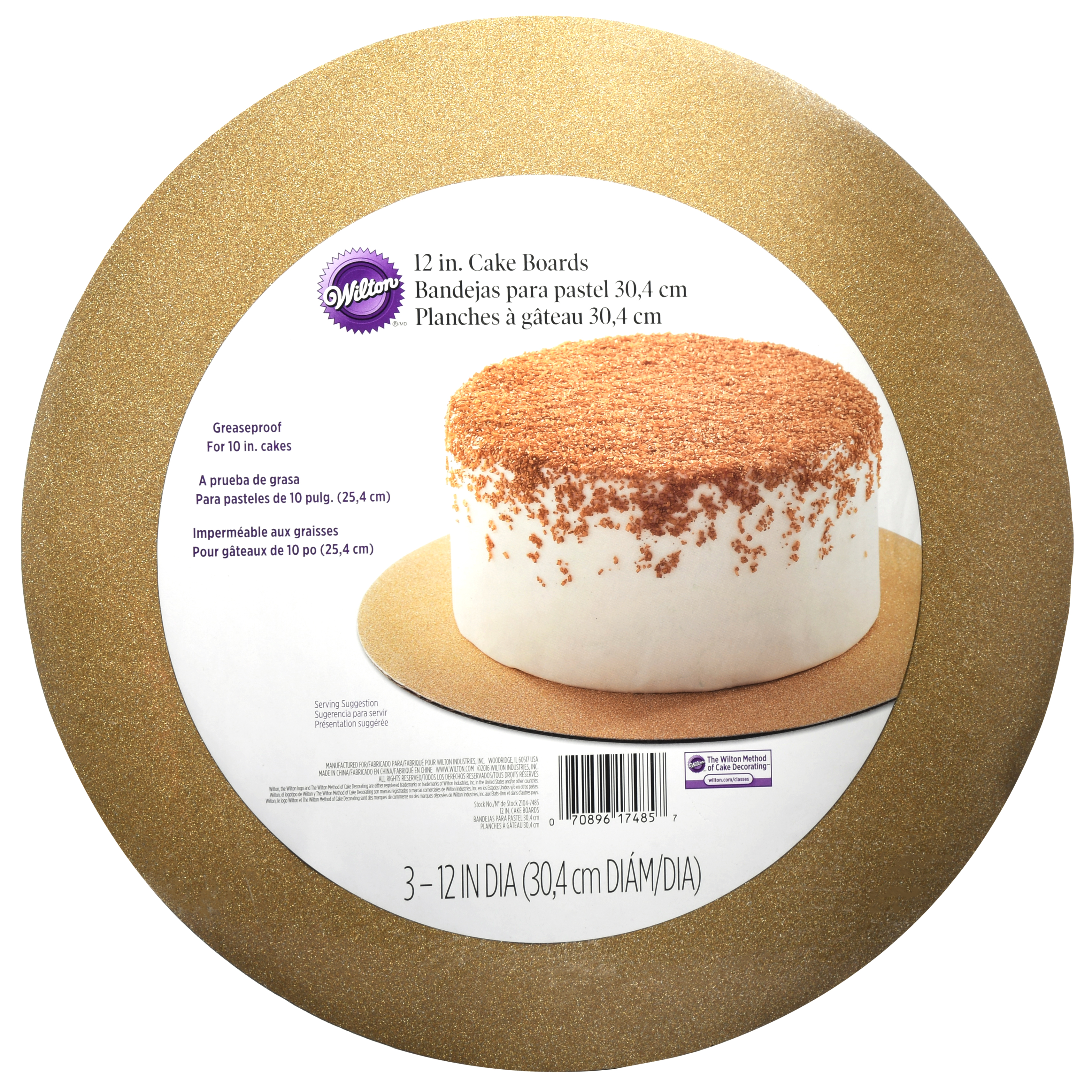 Wilton 12in Gold Gltr Cake Board 3ct