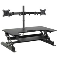 Mount-It! Height Adjustable Standing Desk Converter with Dual Monitor Mount Bundle