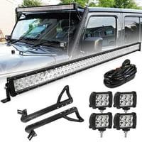 "52 inch 300W LED Light Bar Combo + 4"" Pods + Mount Brackets For Jeep Wrangler JK"