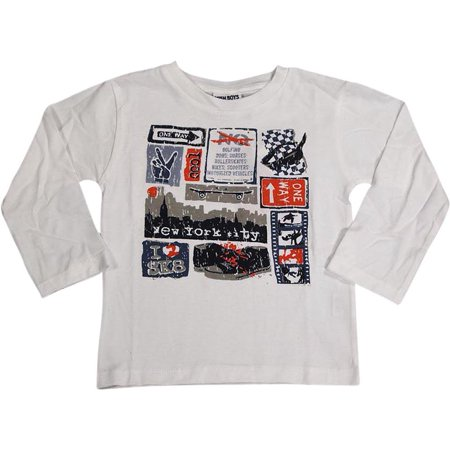 2a3d8ab1d44 MISH MISH - Mish Toddler & Little Boys Long Sleeve Graphic Tee Shirt Top  Many Colors SZ 2-7, 34503 WHITE NEW YORK CITY / 7 - Walmart.com