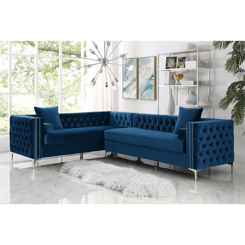 Levi Blue Velvet Corner Sectional Sofa - 120 Inches Left Facing