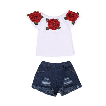 2Pcs Cute Toddler Baby Kids Girls Flower Tops Denim Shorts Pants Outfits Clothes 1-2 Years
