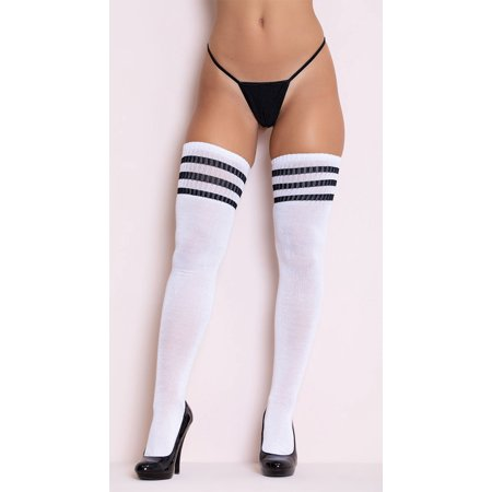 Wear Thigh High Socks - Black Striped Thigh High Socks, White And Black Thigh Highs